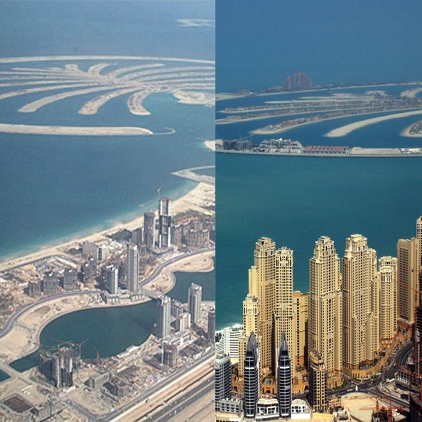 In pics incredible before and after images of dubai for Nearest hotel to dubai design district