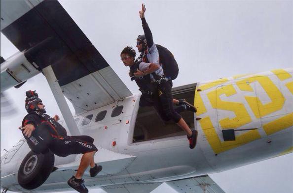 Will smith's son Jayden sky diving with SkyDubai