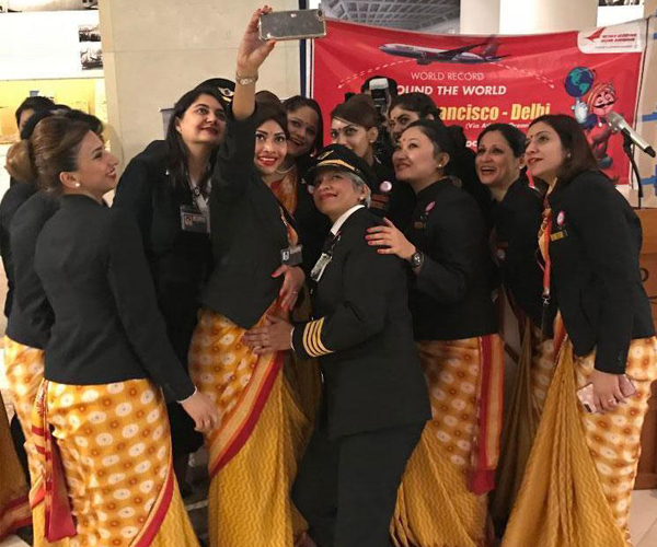 Image result for Air India Makes History With Its Female-Led Around-The-World Flight