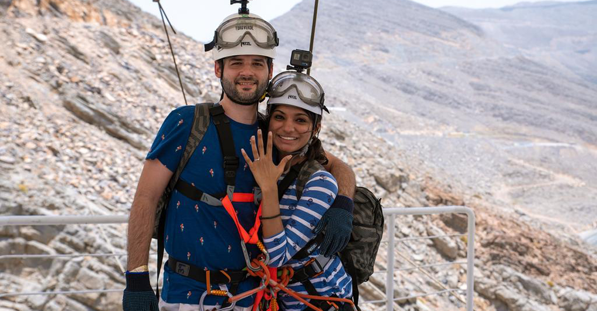 A couple just got engaged at the world's longest zipline in RAK