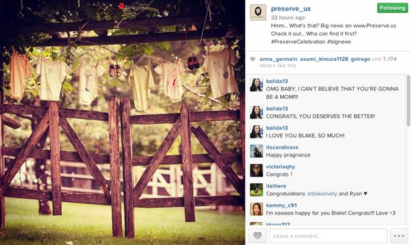 Blake's baby tease on Instagram