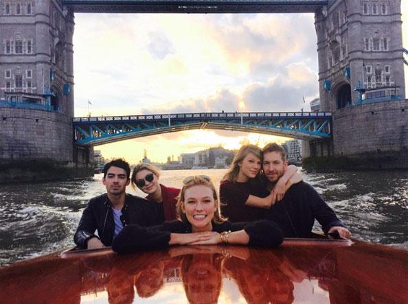 Taylor Swift and Calvin Harris with celeb pals Gigi Hadid, Karlie Kloss and Joe Jonas on a London cruise boat