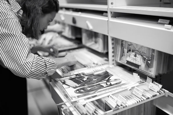 Alexa Chung checking out the Marks and Spencer archives