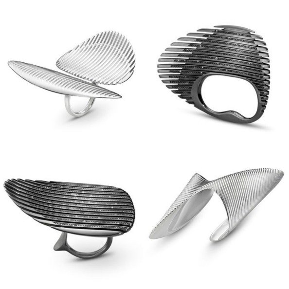 Four pieces from the Georg Jensen x Zaha Hadid collection