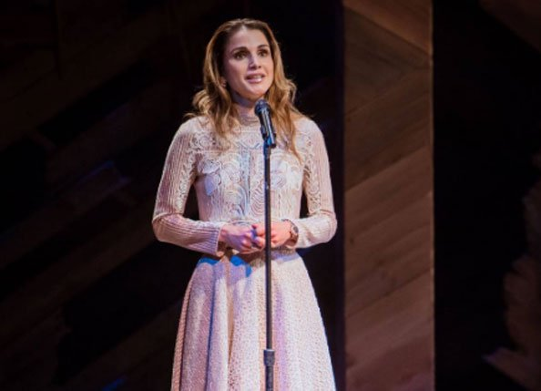 Queen Rania speaking at the Let Girls Learn event in New York.