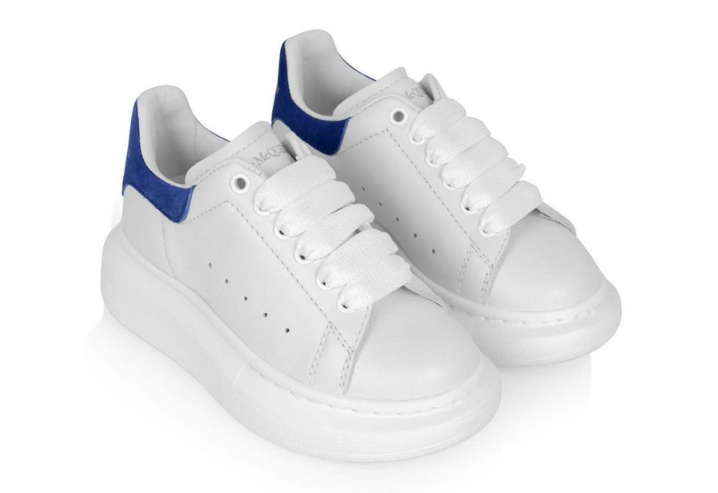 Alexander McQueen Kids White & Blue Leather Trainers