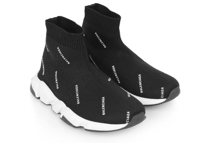 Balenciaga Black Logo Print Speed Trainers