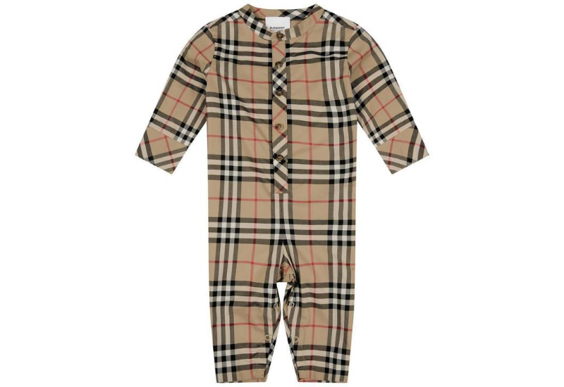 Burberry Baby Beige Check Cotton Romper