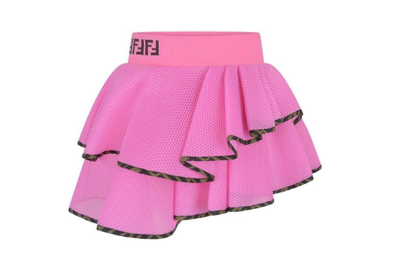 Fendi Girls Pink Mesh Ruffle Skirt
