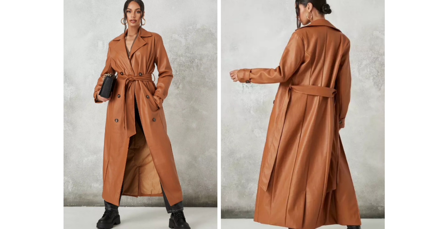 Missguided leather trench