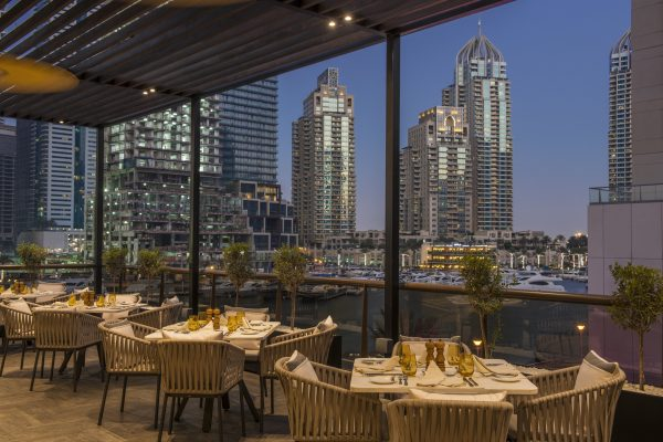 Grosvenor House Luxury Collection Sloanes Restaurant terrace overlooking Marina