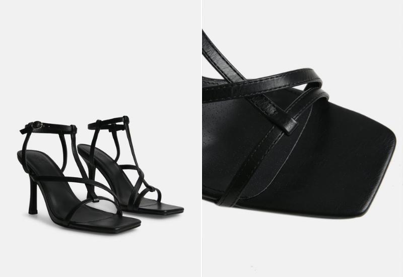 Boa square toe strappy heel black