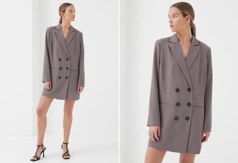 Delphine double breasted blazer dress taupe