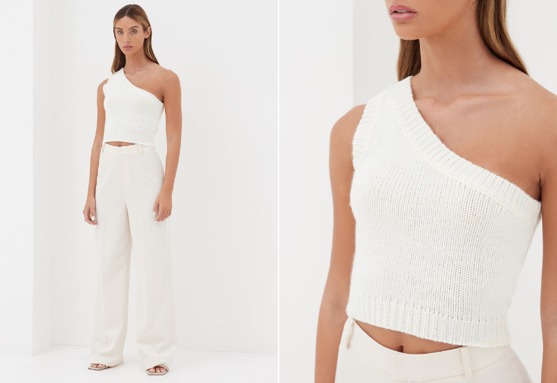 one shoulder knitted top cream